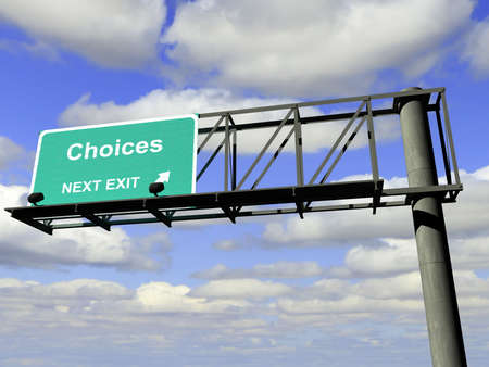 Overhead highway exit sign with the word choices.