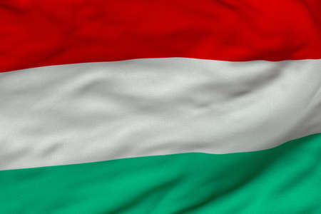 Detailed 3D rendering closeup of the flag of Hungary.  Flag has a detailed realistic fabric texture and an accurate design and colors.