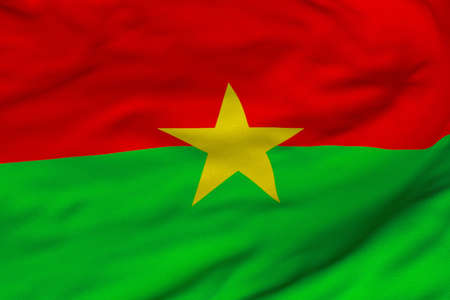 Detailed 3D rendering closeup of the flag of Burkina Faso.  Flag has a detailed realistic fa