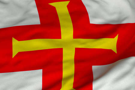 Detailed 3D rendering closeup of the flag of Guernsey.  Flag has a detailed realistic fabric texture and an accurate design and colors.