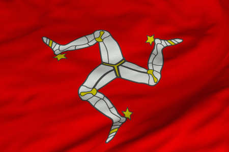 Detailed 3D rendering closeup of the flag of the Isle of Man.  Flag has a detailed realistic fabric texture and an accurate design and colors.