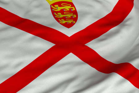 Detailed 3D rendering closeup of the flag of Jersey.  Flag has a detailed realistic fabric texture and an accurate design and colors.