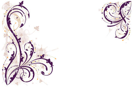 Grunge floral background in shades of purple. All elements layered and grouped.