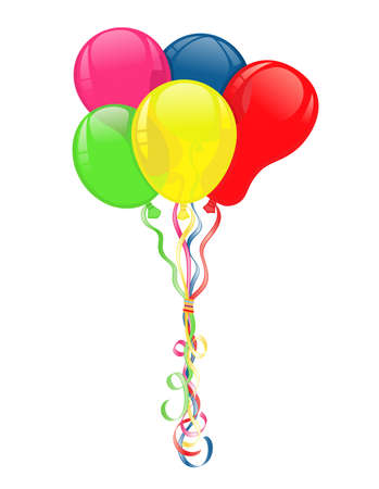 Colorful balloons for party celebrations. Vector file saved as AI8, fake transparency, all elements layered and grouped.