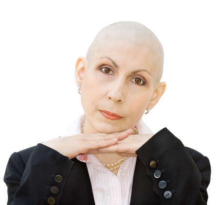 Portrait of cancer patient undergoing chemotherapy and loss of hair. Real woman, diagnosed with breast cancer and ovarian cancer. Isolated over white background.