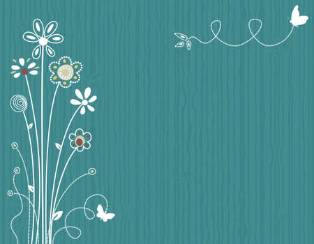 Ilustración de Blue spring floral greeting card. Vector file saved as EPS AI8, all elements grouped, layered, no effects, easy print.  - Imagen libre de derechos