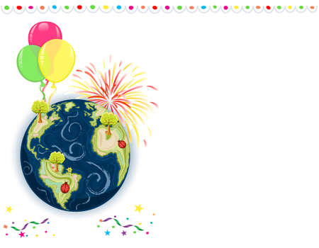 Earth Day Celebration - greeting card with balloons, fireworks and confetti.