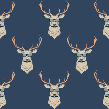 Ilustración de Vector seamless pattern with hipster deer wearing mustaches and glasses - Imagen libre de derechos