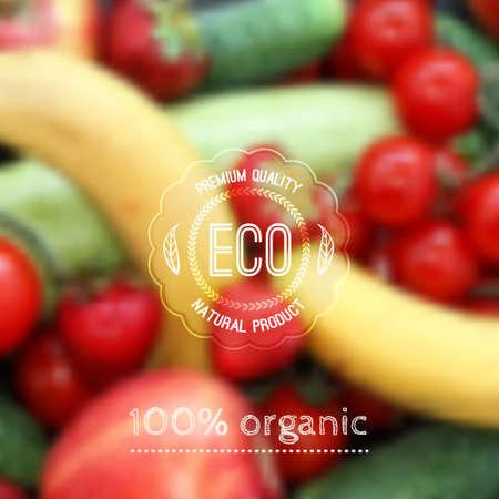 Foto für Vector blurred background with fruits, vegetables and eco label - Lizenzfreies Bild