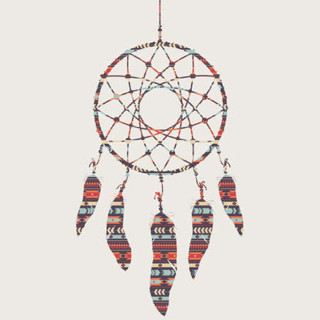 Vector colorful illustration of dream catcher with ethnic pattern