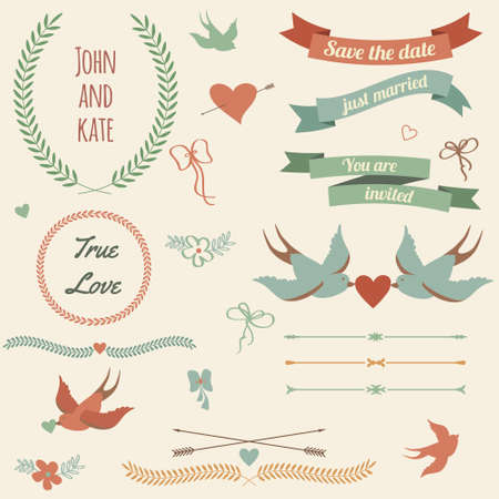 Vector wedding set with birds, hearts, arrows, ribbons, wreaths, flowers, bows, laurel.