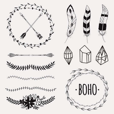 Illustration for Vector monochrome ethnic set with arrows, feathers, crystals, floral frames, borders. Modern romantic boho style. Templates for invitations, scrapbooking. Hippie design elements. - Royalty Free Image