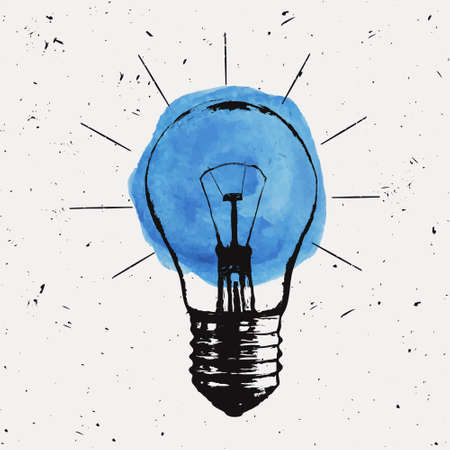 Illustration pour Vector grunge illustration with light bulb. Modern hipster sketch style. Idea and creative thinking concept. - image libre de droit