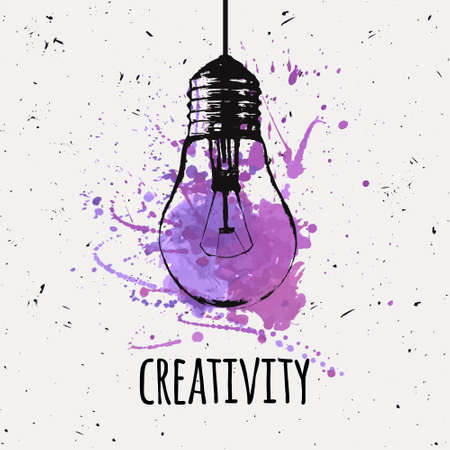 Vector illustration with hanging grunge light bulb with watercolor splash. Modern hipster sketch style. Idea and creativity concept.