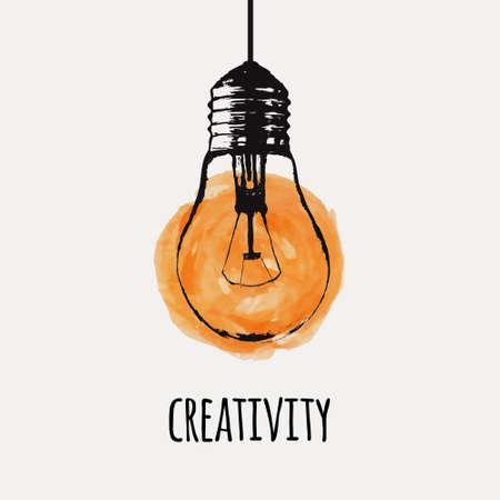 Ilustración de Vector illustration with hanging grunge light bulb. Modern hipster sketch style. Idea and creativity concept. - Imagen libre de derechos