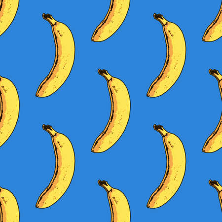 Photo for Vector seamless banana pattern. Modern tropical print - Royalty Free Image