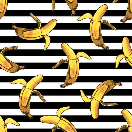 Ilustración de Vector seamless banana and stripes pattern. Modern tropical print - Imagen libre de derechos