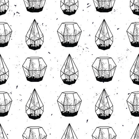 Vector black and white hand drawn seamless pattern with cactuses and succulents in terrariums on grunge texture.