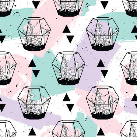 Vector hand drawn seamless pattern with geometric and brush painted elements, triangles, cactuses and succulents in terrariums.