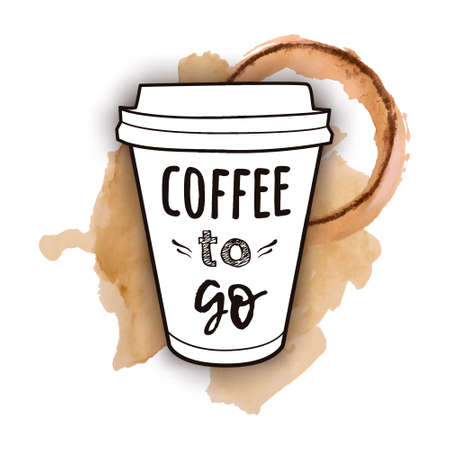 Illustration for Vector illustration of a take away coffee cup with phrase Coffee to go with watercolor splashes of spilled coffee. Vintage drawing for drink and beverage menu or cafe design. - Royalty Free Image