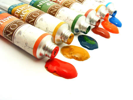 Assorted art paint isolated on white background