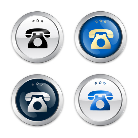 Communication seals or icons with telephone symbol. Glossy silver seals or buttons.