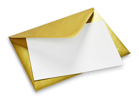Photo for Golden envelope and white card with copy space, isolated on white background. Shiny gold envelope, greeting card or invitation mailing. - Royalty Free Image