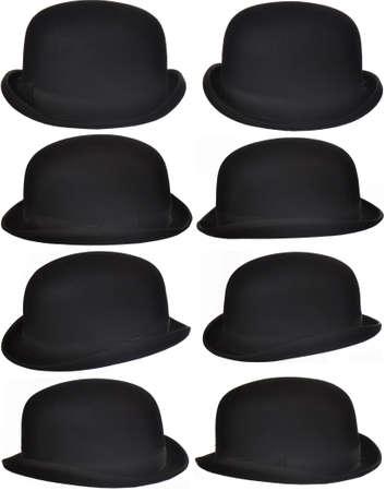 Foto de eight angles of an isolated bowler or derby hat - Imagen libre de derechos