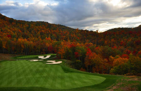 golf course nestled in the North Carolina mountains in the Fall