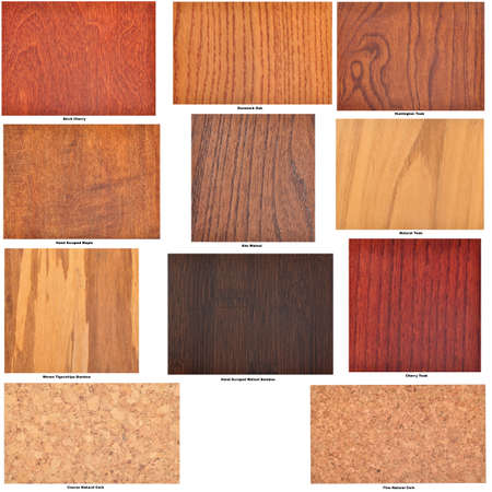 Collection of isolated wooden flooring samples, with identifying captions