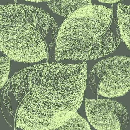 Ilustración de Autumn hand drawn leaf. Wallpaper seamless pattern background - Imagen libre de derechos
