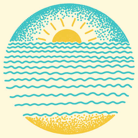 Illustration pour Sea sunset with sun, sea waves and sand. Dots and line modern digital drawing illustration. - image libre de droit