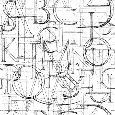 Illustration for Wallpaper seamless pattern with Modern Roman Classic Alphabet. Method of Geometrical Construction for Large Letters. Hand drawn construction sketch of ABC letters in old fashion vintage style. - Royalty Free Image