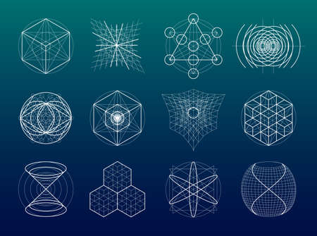 Illustration for Sacred geometry symbols and elements set. 12 in 1. Alchemy, religion, philosophy, astrology and spirituality themes - Royalty Free Image