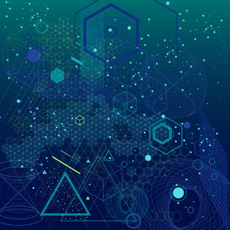 Illustration pour Sacred geometry symbols and elements background. Cosmic, universe, bing bang, alchemy, religion, philosophy, astrology, science, physics, chemistry and spirituality themes - image libre de droit