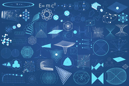 Ilustración de Big collection of elements, symbols and schemes of physics, chemistry and sacred geometry. The science theme. - Imagen libre de derechos