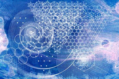 Foto de Sacred geometry symbols and elements background. - Imagen libre de derechos