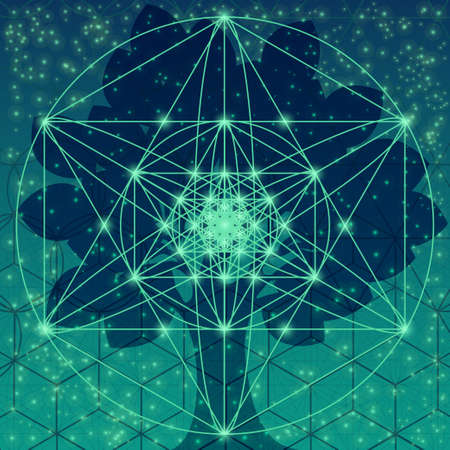 Illustration pour Tree with sacred geometry symbols and elements - image libre de droit