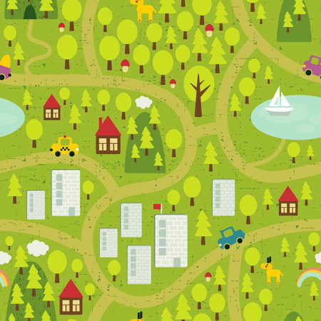 Illustration for Cartoon map seamless pattern of small town and countryside.  - Royalty Free Image