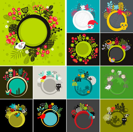 Ilustración de Set of round banners with floral background. Vector illustrations with animals, insects and birds. - Imagen libre de derechos