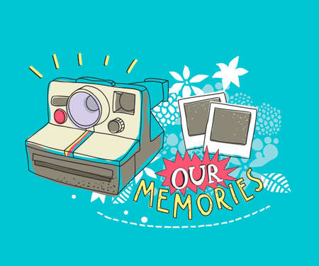 Illustration for Old photo camera on the floral background. Vector artistic illustration. - Royalty Free Image