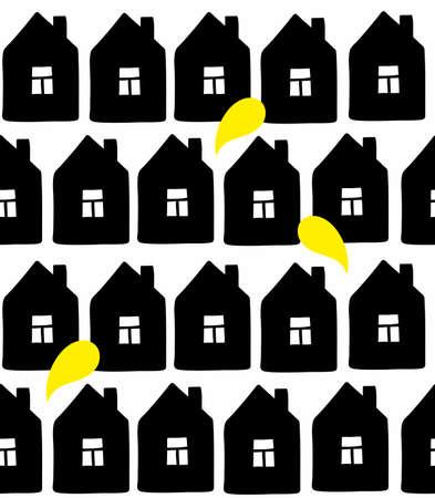 Illustration pour Seamless background with scandinavian style buildings on white backdrop. - image libre de droit
