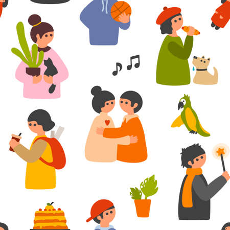 Illustration pour Cartoon people seamless pattern for wallpaper, wrapping or fabric. - image libre de droit