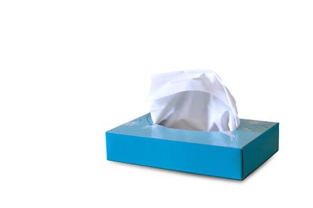 Blue paper tissue box on white background.