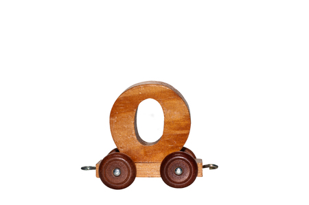 Foto de Wooden number with wheel for children education, learn and play game numbers toy for kindergarten school.  Education skill game. - Imagen libre de derechos