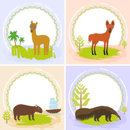 Illustration pour lama, Maned wolf, ant-eater, Capybara, set of cards design  with funny animals, template banner for your text with round frame. Vector illustration - image libre de droit