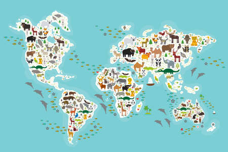 Ilustración de Cartoon animal world map for children and kids, Animals from all over the world, white continents and islands on blue background of ocean and sea. Vector illustration - Imagen libre de derechos