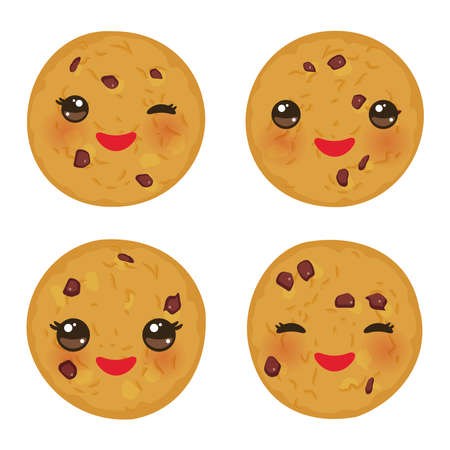 Kawaii Chocolate chip cookie set Freshly baked isolated on white background. Cute face with pink cheeks and eyes. Bright colors. Vector illustration