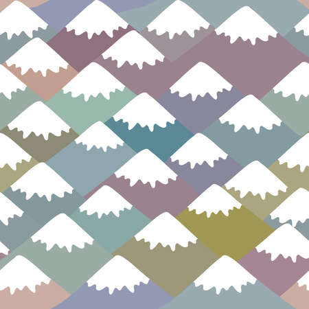 Illustration pour Seamless pattern Mount, Nature background with Mountain landscape. Gray, pink, blue navy mountain with snow-capped peaks. Vector illustration - image libre de droit