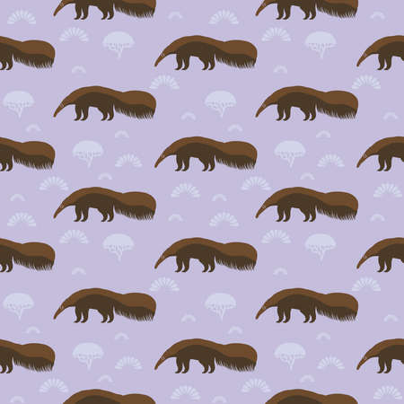 Illustration pour Funny brown giant anteater, ant bear, ant-eater, ant-bear. large insectivorous mammal native to Central and South America. Seamless pattern with cute animal on a lilac background. Vector illustration - image libre de droit